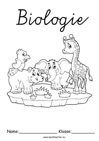 Deckblatt Biologie Tiere Zum Ausdrucken