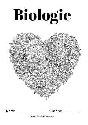 Biologie Deckblatt Herz Bio Deckblatter
