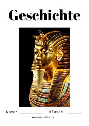 Hier kannst du dir jetzt dein gesuchtes Geschichte Deckblatt Pharao schnell und einfach erstellen und kostenlos ausdrucken. Mit deinem persönlichen Deckblatt für deine Hefter, Schulordner und Mappen bist du super organisiert und behältst stehst den Überblick.