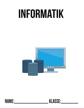 Hier kannst du dir jetzt dein gesuchtes Deckblatt Informatik Klasse 6 schnell und einfach erstellen und kostenlos ausdrucken. Mit deinem persönlichen Deckblatt für deine Hefter, Schulordner und Mappen bist du super organisiert und behältst stehst den Überblick.