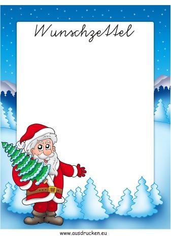 Wunschzettel Weihnachtsmann ausdrucken