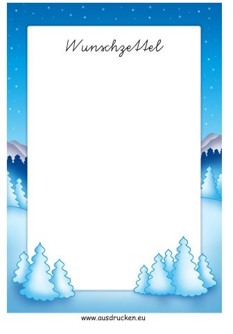 Wunschzettel Winter ausdrucken