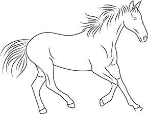 Ausmalbild für trabendes Pferd