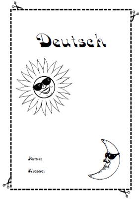 Deckblatt Deutsch mit  Sonne und Mond
