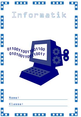Deckblatt Informatik mit einem Oldschool Desktop.