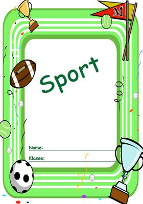 Deckblatt Sport mit einem Fussball Football und Pokalen