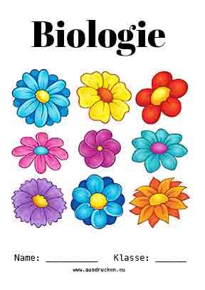 biologie deckblatt blumen zum kostenlosen ausdrucken