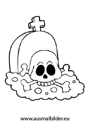 Grab mit einem Totenschädel als Ausmalbild