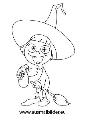 Kleine liebe Hexe als Ausmalbild