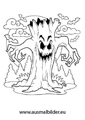 Schrecklicher Baum | Halloween ausdrucken