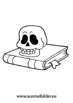 Totenkopf auf Buch als Ausmalbild