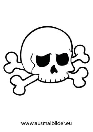 Totenschädel mit Knochen Halloween ausdrucken