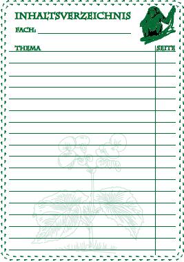 inhaltsverzeichnis zum ausdrucken kostenlos