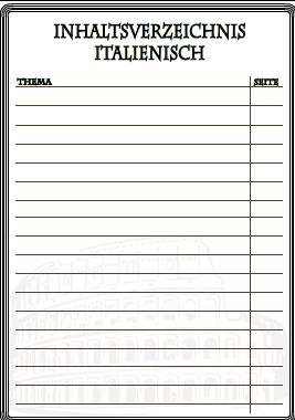 Inhaltsverzeichnis Italienisch | Inhaltsverzeichnisse ausdrucken