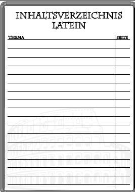 Inhaltsverzeichnis für Latein