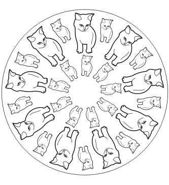 Katzen Mandala zum ausdrucken