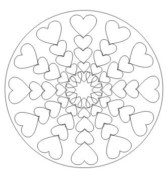 Mandala mit Herzen zum ausdrucken