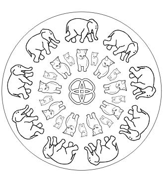 Mandala mit Tieren zum ausdrucken