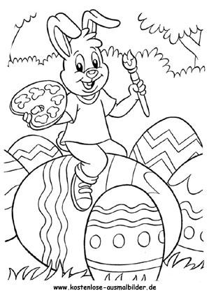 Ausmalbilder Osterhase Malt Ostereier An Ausdrucken