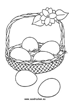 Ausmalbilder Osterkorb Mit Eier Zum Ausmalen Ausdrucken