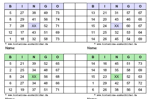 Bingo Vorlagen | Bingo Karten Ausdrucken von Vorlagen