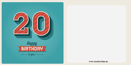 Geburtstagskarte 40 zum ausdrucken