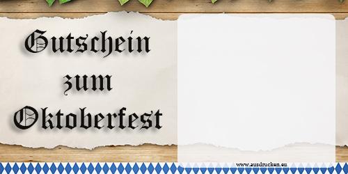 Gutschein Oktoberfest | Oktoberfest Ausdrucken von Vorlagen